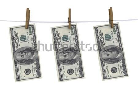 Negatieve dollar wasknijper lijn kleding financieren Stockfoto © cherezoff