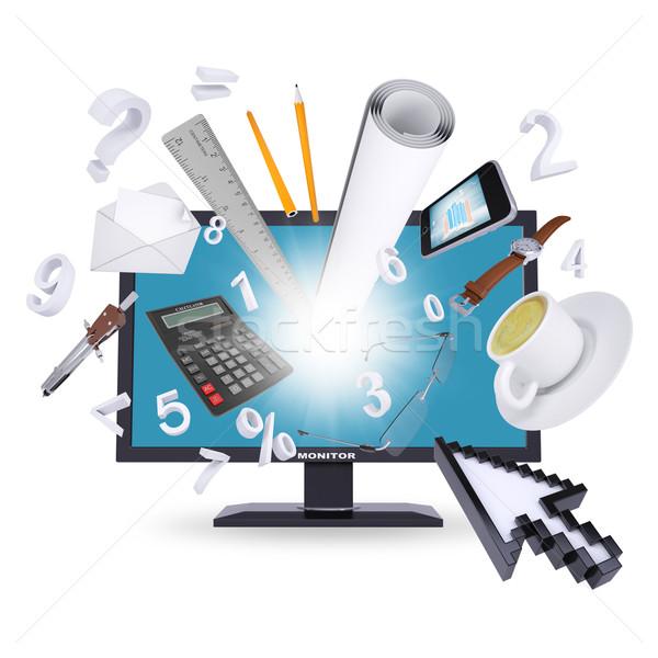 Monitor irodaszerek izolált fehér irodai munka üzlet Stock fotó © cherezoff