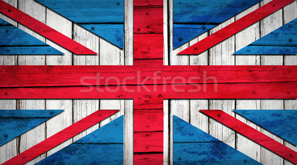 UK flag painted on wooden boards Stock photo © cherezoff