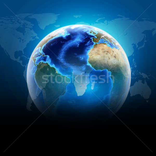 Bleu terre monde continents transparent carte du monde Photo stock © cherezoff