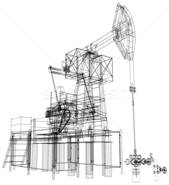Oil pump jack. Vector rendering of 3d Stock photo © cherezoff