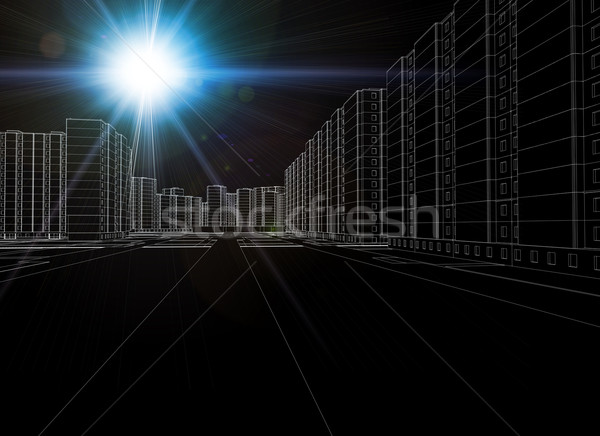 Graphics of business city with hotspot in left corner Stock photo © cherezoff