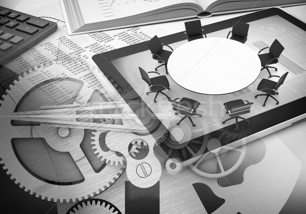 Watchwork wheels with book, tablet, office table Stock photo © cherezoff