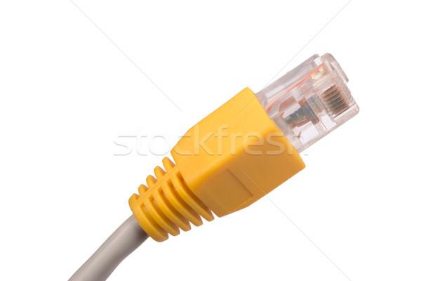 Kabel komputerowy biały żółty odizolowany widoku Zdjęcia stock © cherezoff