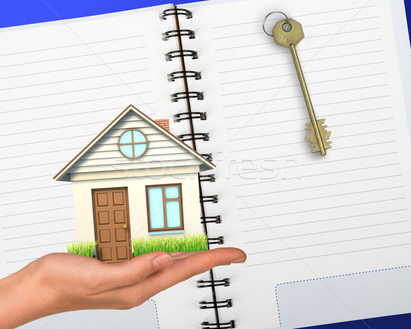 Humans hand holding house with notebook Stock photo © cherezoff