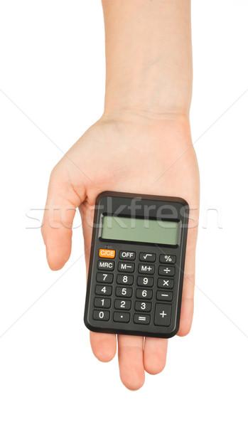 Calculator on humans hand Stock photo © cherezoff