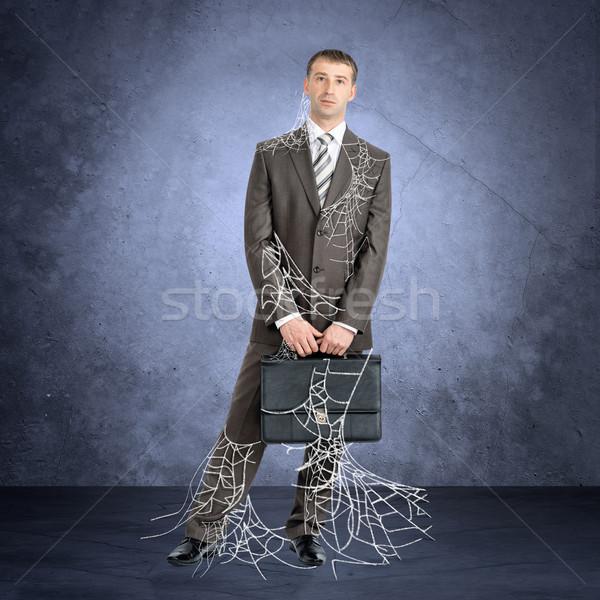 Işadamı örümcek ağı bakıyor kamera gri web Stok fotoğraf © cherezoff
