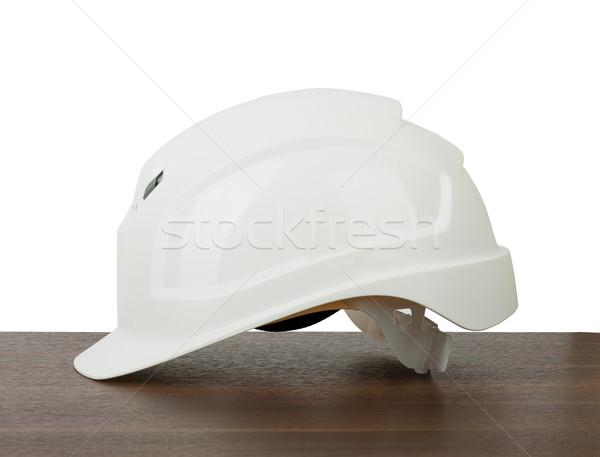 Plastik kask planları tablo yalıtılmış beyaz Stok fotoğraf © cherezoff