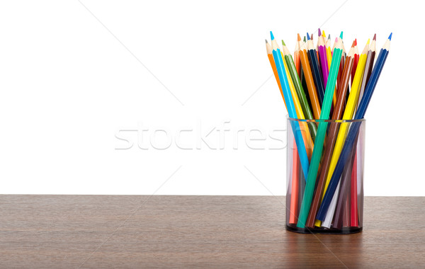 Crayons in pencil cup Stock photo © cherezoff