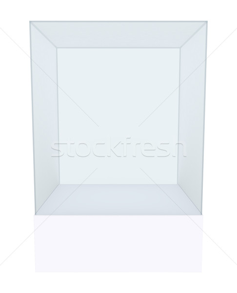 Glass cube on pedestal Stock photo © cherezoff
