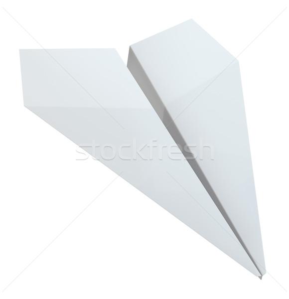 Origami papieren vliegtuig witte 3d illustration papier model Stockfoto © cherezoff