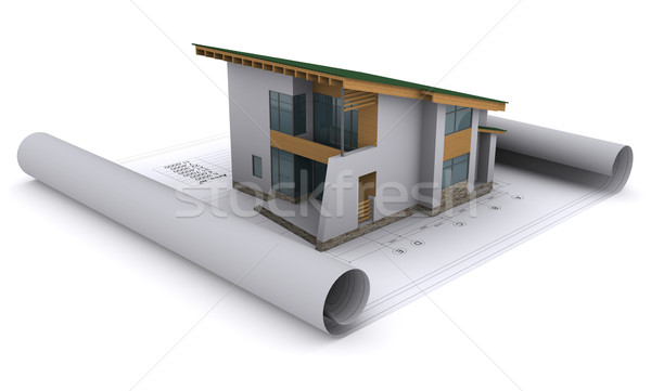 Stock photo: house with a green roof is on the construction drawings