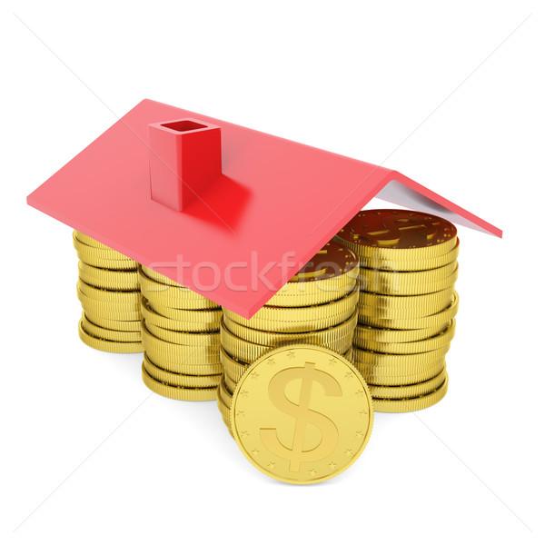 Huis gouden munten geïsoleerd geven witte business Stockfoto © cherezoff