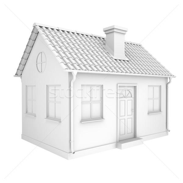 Küçük beyaz ev yalıtılmış vermek beyaz iş Stok fotoğraf © cherezoff