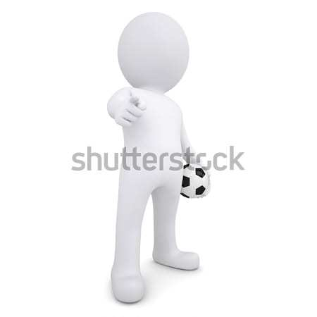 3d man with ball points his finger at viewer Stock photo © cherezoff
