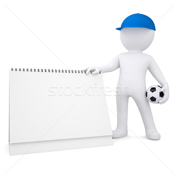 3d white man with soccer ball and desktop calendar Stock photo © cherezoff