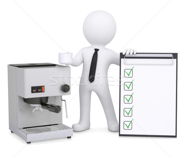 3d white man with coffee machine and checklist Stock photo © cherezoff