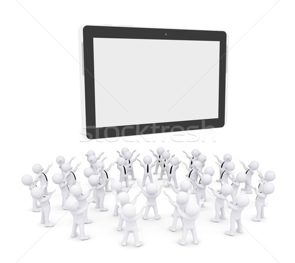 Group of white people worshiping tablet PC Stock photo © cherezoff