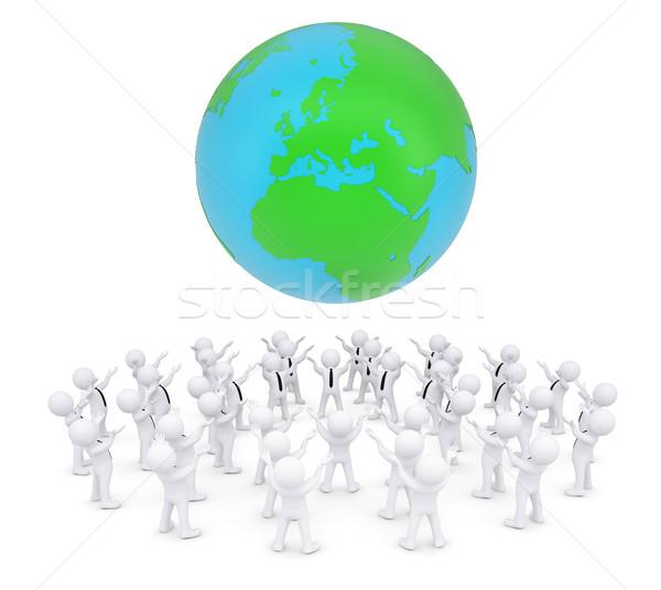 Group of white people worshiping earth Stock photo © cherezoff