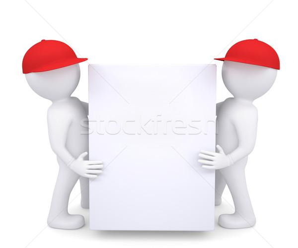 Zwei 3D weißen Mannes rot hat halten Stock foto © cherezoff