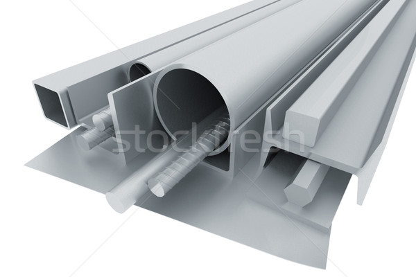 Metal pipes, angles, channels, fixtures and sheet Stock photo © cherezoff