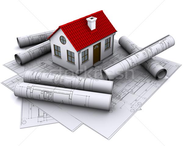 Beyaz ev inşaat çizimler kırmızı çatı Bina Stok fotoğraf © cherezoff