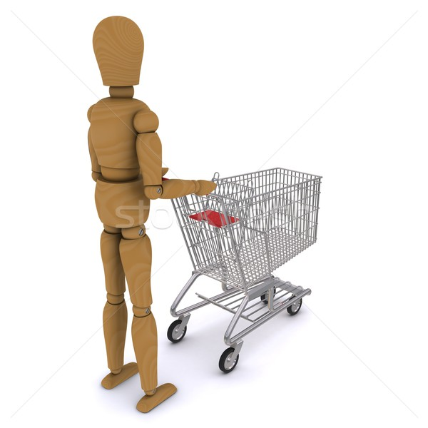 The wooden man rolls trolley (rear view). 3D rendering Stock photo © cherezoff
