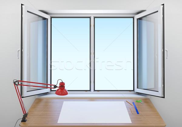 Tabela abrir janela branco folha papel Foto stock © cherezoff