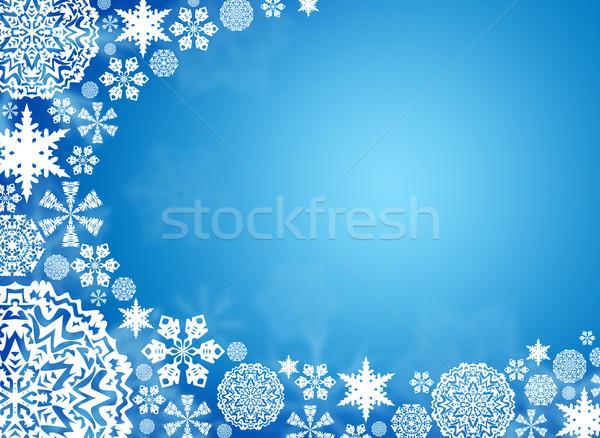 Blanche flocons de neige bleu Noël ciel résumé Photo stock © cherezoff