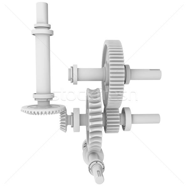 White shafts, gears and bearings Stock photo © cherezoff