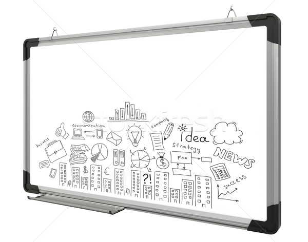 White magnetic board and business sketches Stock photo © cherezoff