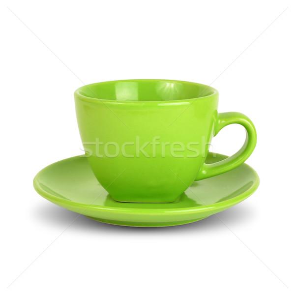 Verde taza platillo aislado blanco color Foto stock © cherezoff