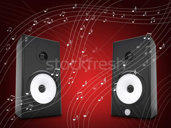 Music notes around audio speakers Stock photo © cherezoff