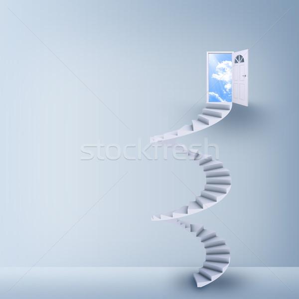 Spiral stairs and magic doors Stock photo © cherezoff