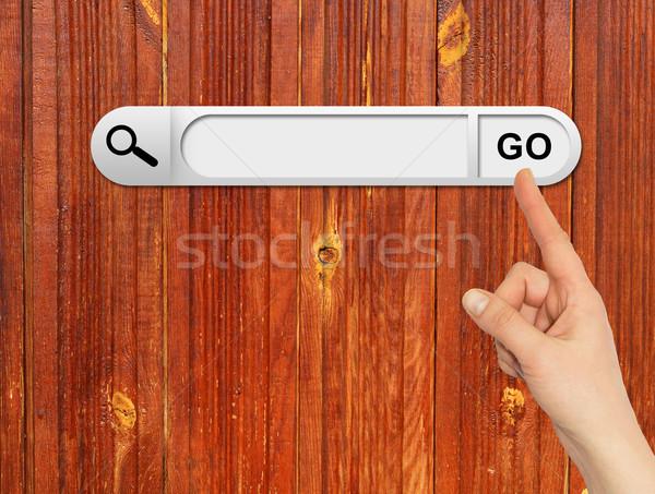 Menselijke hand Zoek bar browser houten Stockfoto © cherezoff