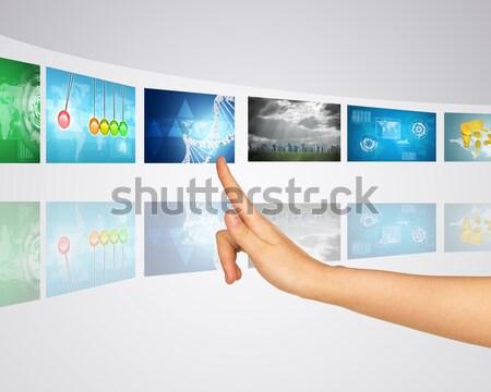 ноутбука экране Мир карта широкий виртуальный лента Сток-фото © cherezoff