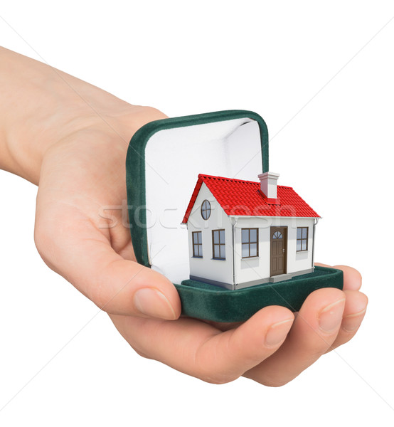 Empty ring box with house in humans hand Stock photo © cherezoff
