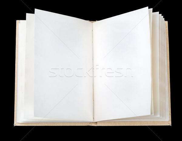 Nyitott könyv levelek fekete papír Stock fotó © cherezoff