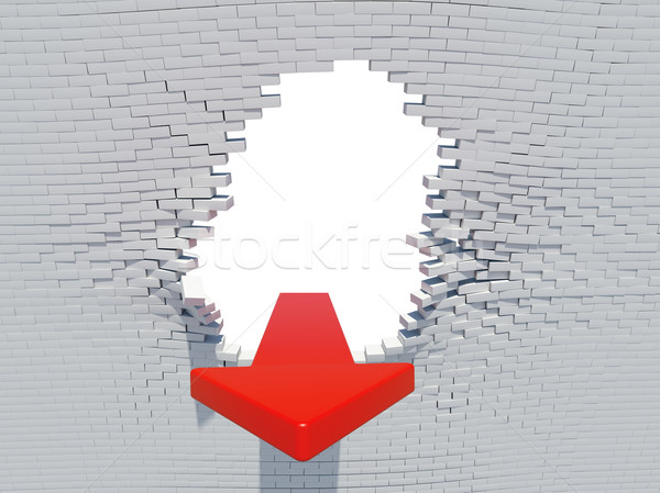 Muro crash arrow bianco buco mattoni Foto d'archivio © cherezoff