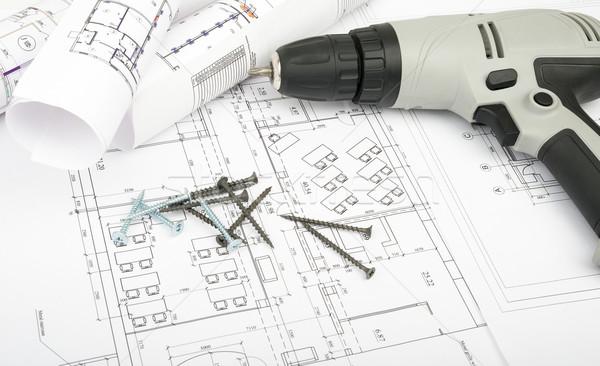 Photo stock: Architecture · plan · blueprints · électriques · tournevis