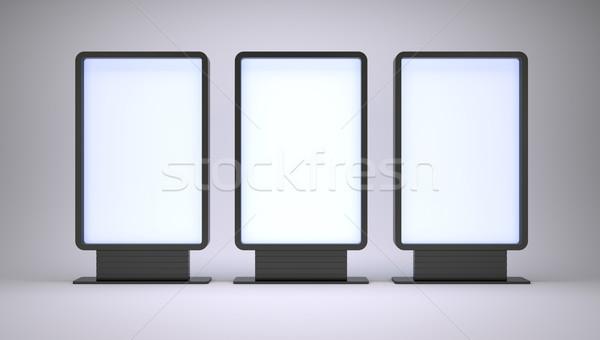 ストックフォト: バナー · 画面 · 白 · 3D · レンダリング · 紙