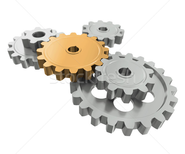 Stock photo: Group gears. Symbol leader in team work
