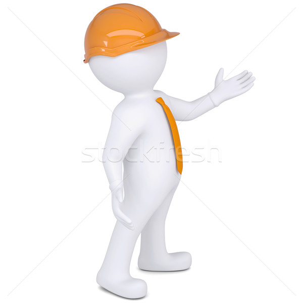 3d white man in helmet points hand Stock photo © cherezoff