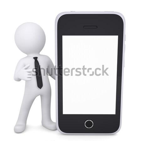 3D biały człowiek palec smartphone odizolowany Zdjęcia stock © cherezoff