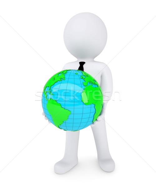 Stock fotó: 3D · fehér · férfi · tart · bolygó · kezek · izolált