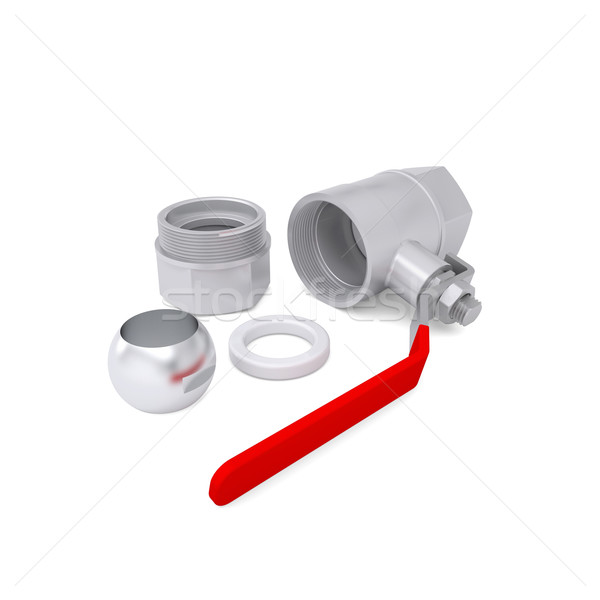 Részletek labda szelep izolált render fehér Stock fotó © cherezoff