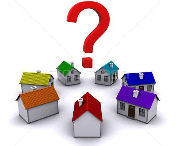 seven small houses around a question mark Stock photo © cherezoff