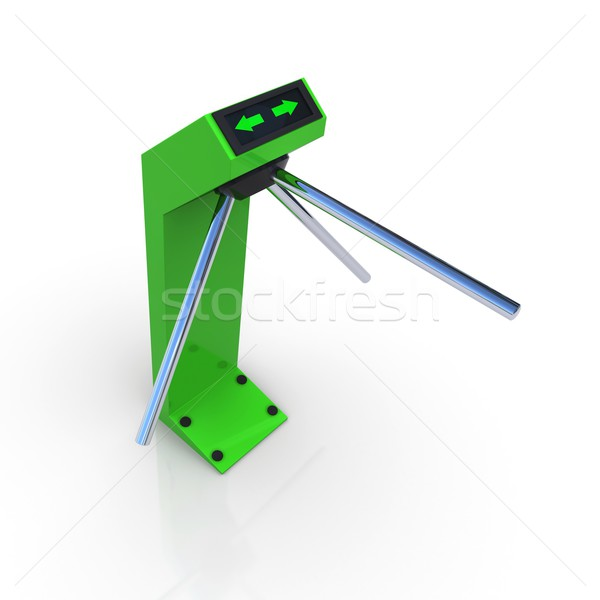 Turnstile green allowing the passage. 3D rendering Stock photo © cherezoff
