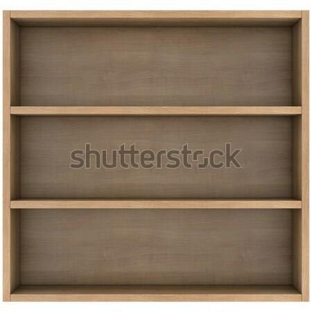 ストックフォト: 木製 · 棚 · 3dのレンダリング · 孤立した · 白 · オフィス