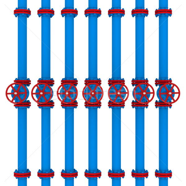 Kék csövek izolált render fehér fém Stock fotó © cherezoff